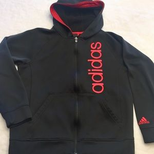 ADIDAS ZIPPER FRONT HOODED JACKET EMBROIDERED LOGO